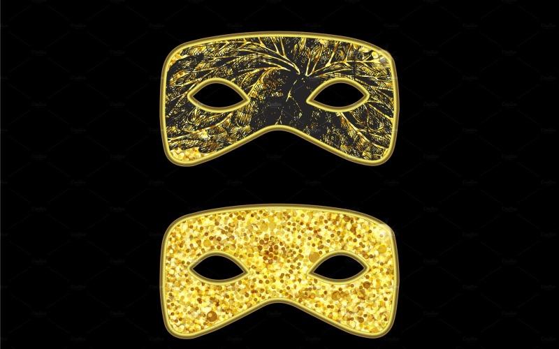 Máscara de Mascarada Dorada - Plantilla de Identidad Corporativa