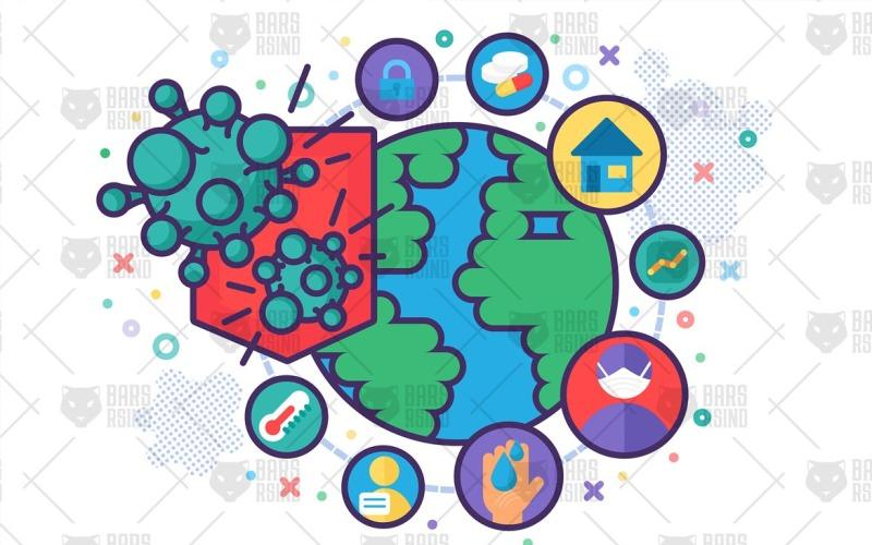 Concepto de protección contra la pandemia global: plantilla de identidad corporativa