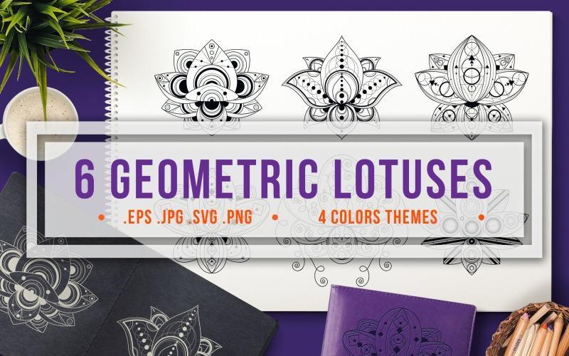 Conjunto de lotos geométricos - Plantilla de identidad corporativa