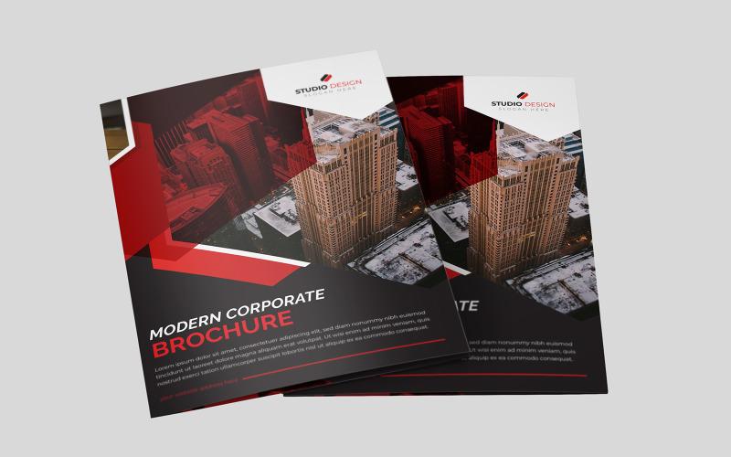 Diseño de folleto bi-fold Red Polygon - Plantilla de identidad corporativa