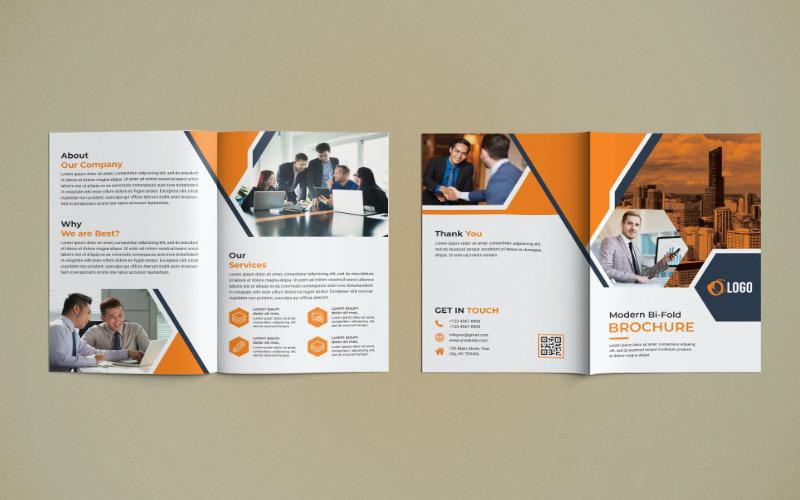 Diseño de folleto comercial de doble pliegue: plantilla de identidad corporativa