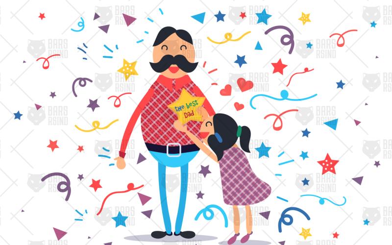 Счастливый отец с дочерью - шаблон фирменного стиля
