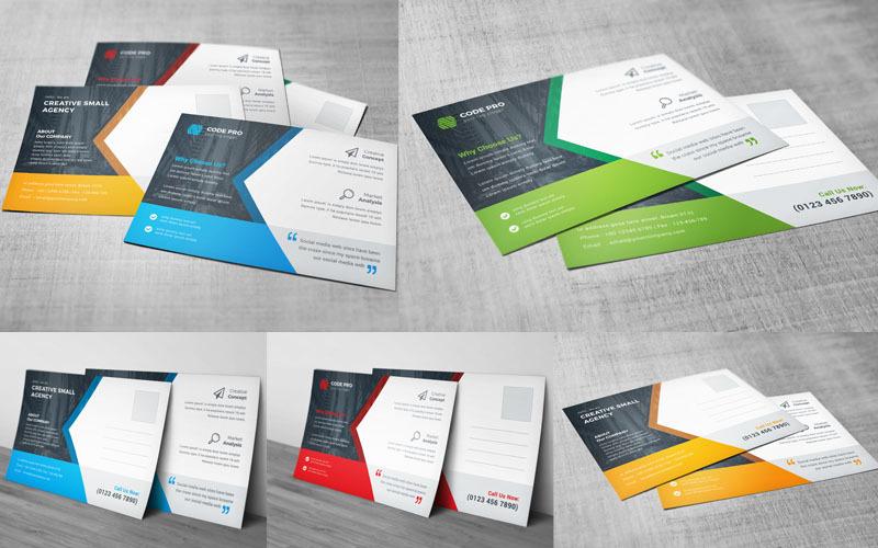 Tarjeta postal de color azul - Plantilla de identidad corporativa