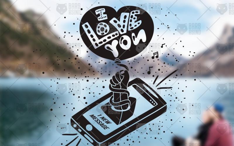 Te amo - Mensaje desde teléfono inteligente - Plantilla de identidad corporativa