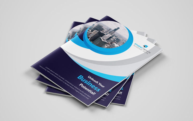 Diseño de folleto plegable Forzadus - Plantilla de identidad corporativa