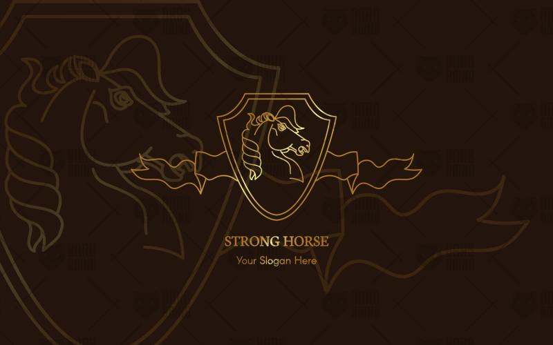 Plantilla de logotipo de caballo fuerte