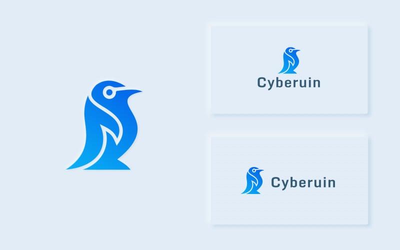 Cyberuin - Plantilla de logotipo de pingüino moderno