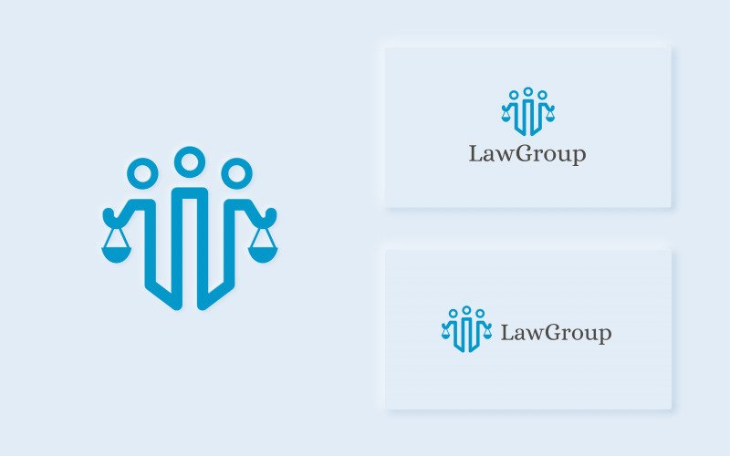 LawGroup - Plantilla de logotipo de abogado limpio y moderno