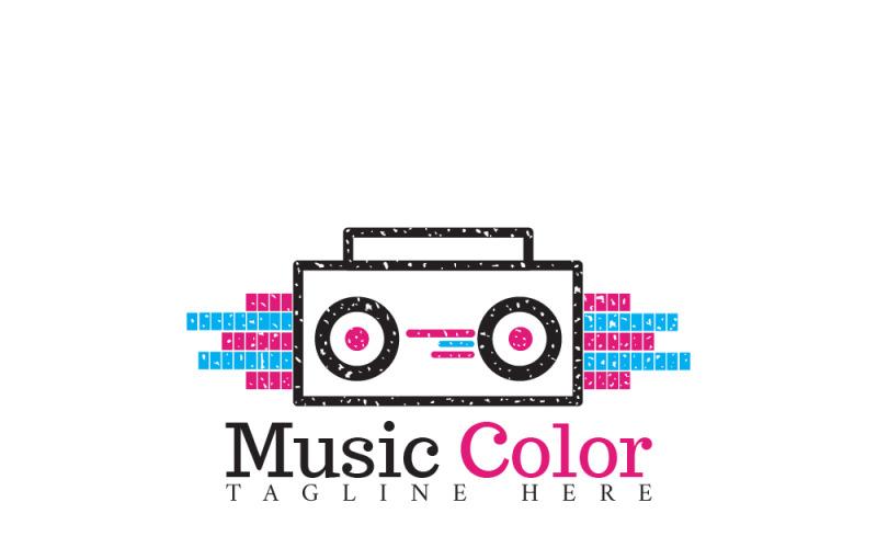 Plantilla de logotipo de color de música