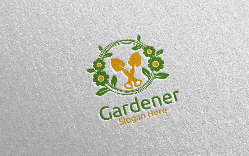 Plantilla de logotipo de diseño de jardinero botánico 6