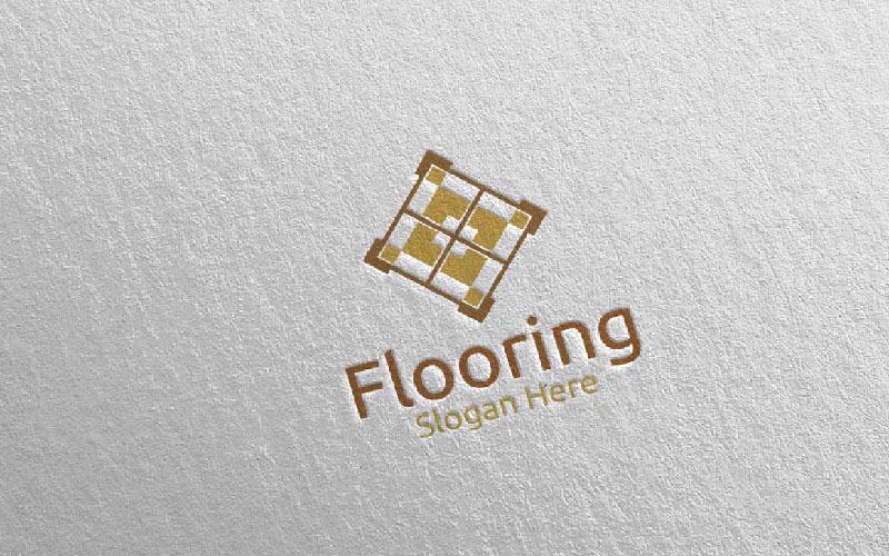Plantilla de logotipo de parquet de madera 31 para pisos
