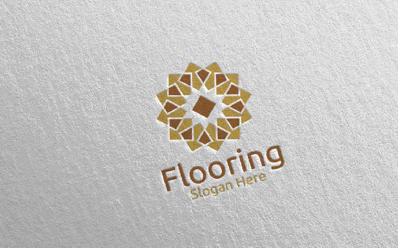Plantilla de logotipo de suelo de parquet de madera 28