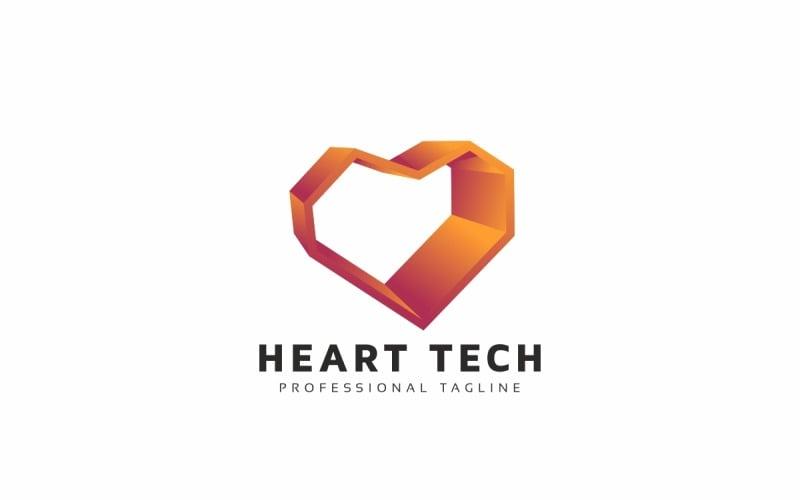 Plantilla de logotipo Heart Tech