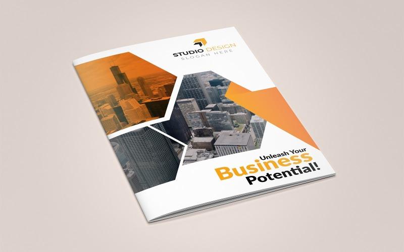 Diseño de folletos plegables Metalgear - Plantilla de identidad corporativa