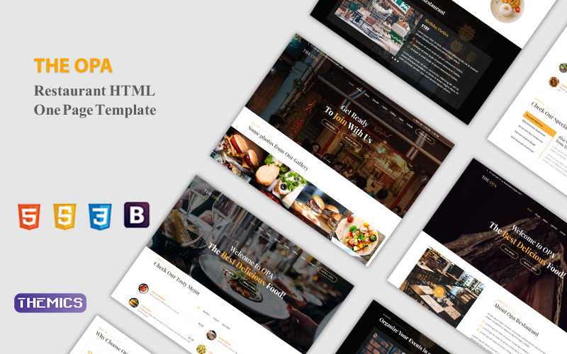 Opa - Plantilla de página de destino HTML moderna para restaurante