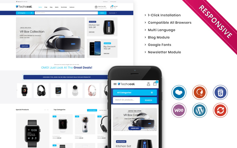 Techocal - The Premium Electronic Store WooCommerce Theme