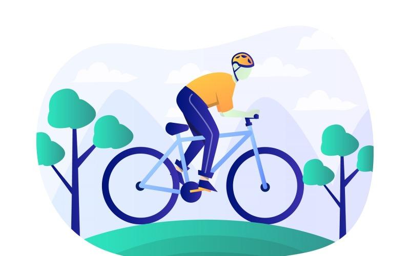 Ilustración plana de bicicleta de montaña - Imagen vectorial