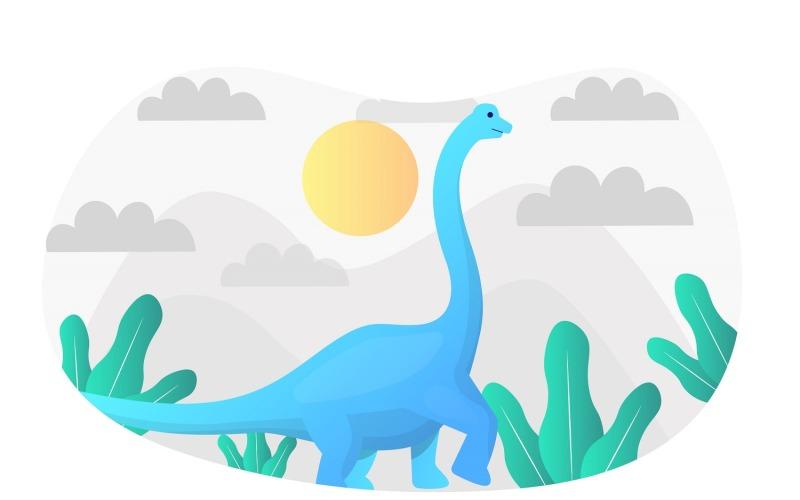 Ilustración plana de Brachiosaurus - Imagen vectorial