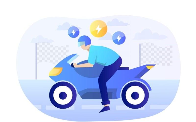 Ilustración plana de motocicleta - imagen vectorial