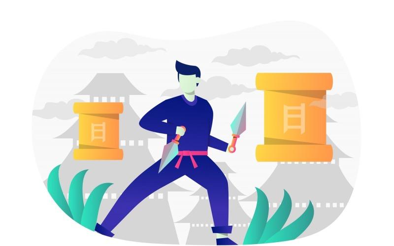 Ilustración plana de Ninja Kunai - Imagen vectorial