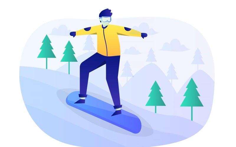 Ilustración plana de snowboard - imagen vectorial