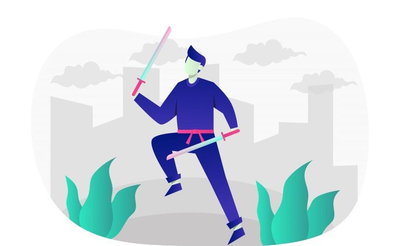 Ilustración plana Ninja Katana - Imagen vectorial