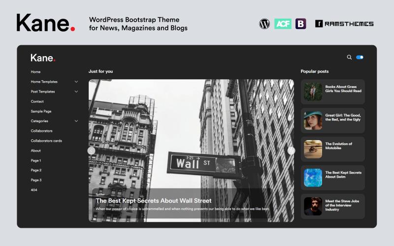 KANE - Tema de WordPress Bootstrap para blog de revistas de noticias
