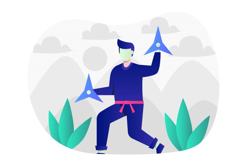 Ninja ilustración plana - imagen vectorial
