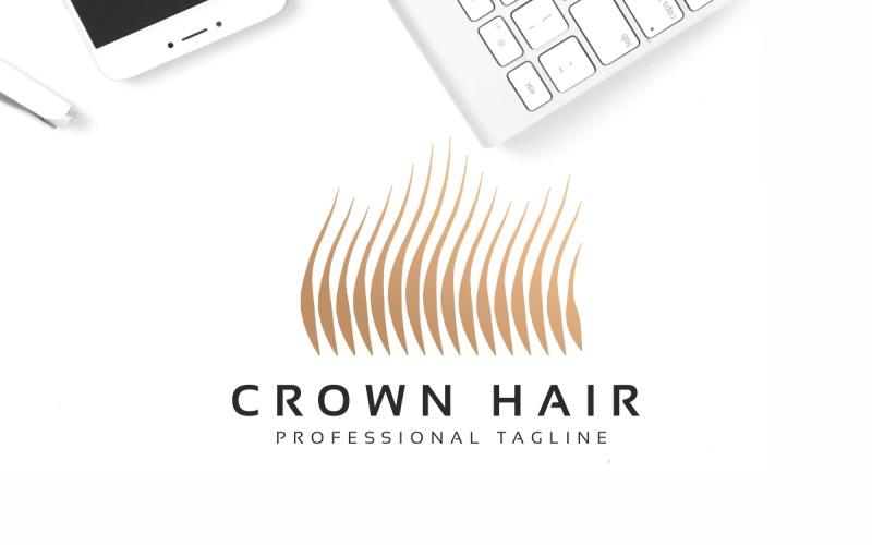 Plantilla de logotipo de pelo de corona