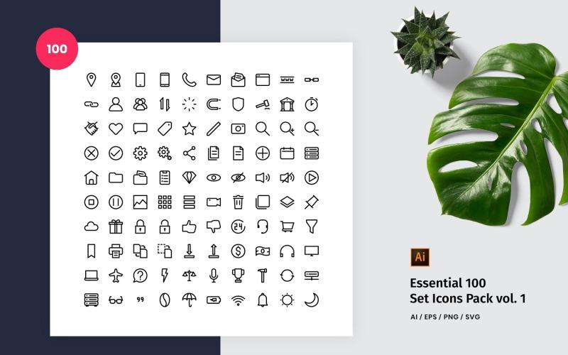 Essential 100 Set Pack Icon