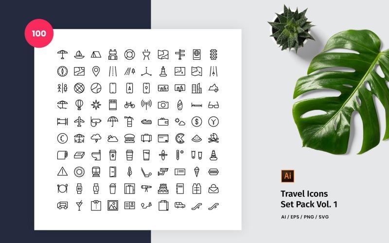 Icono de paquete de viaje 100