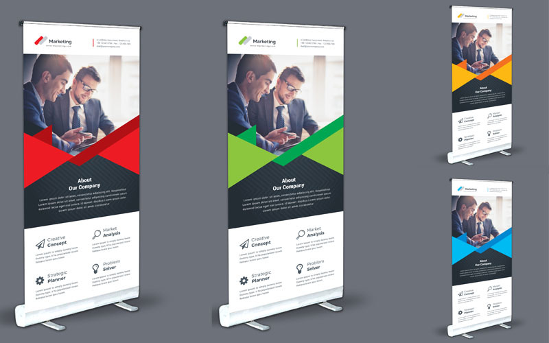 Orange Color Roll Up - Corporate Identity Template