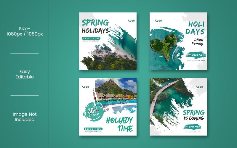 Banner para plantilla de redes sociales de viajes y vacaciones