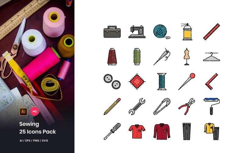 Conjunto de iconos de paquete de costura