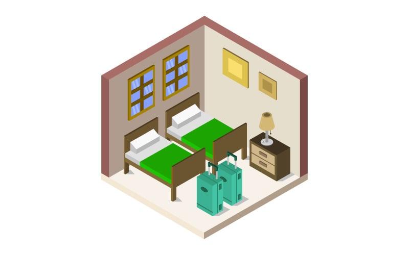 Habitación de hotel isométrica ilustrada sobre fondo blanco - Imagen vectorial