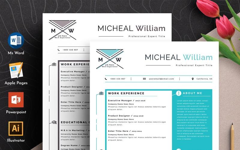Plantilla de currículum vitae de páginas de Apple de Word editable creativo y moderno