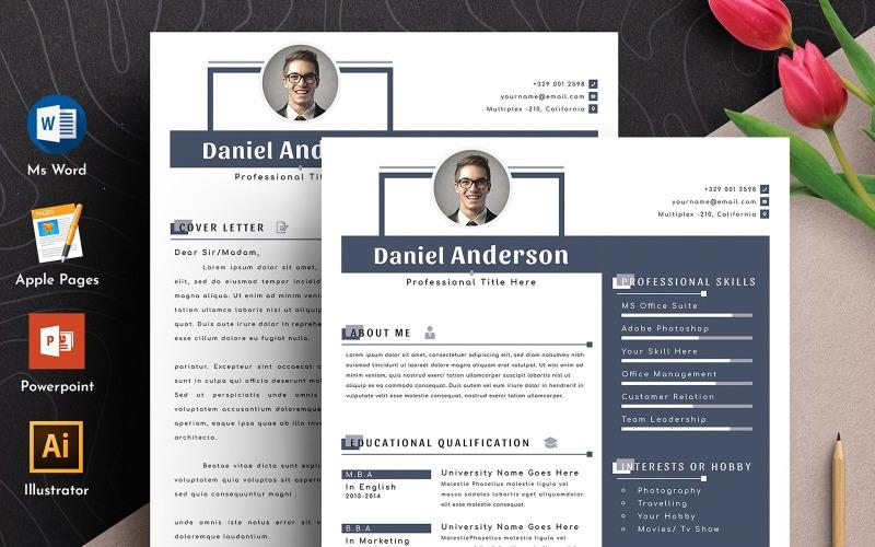 Plantilla de currículum vitae de Word Apple Pages editable limpio y profesional