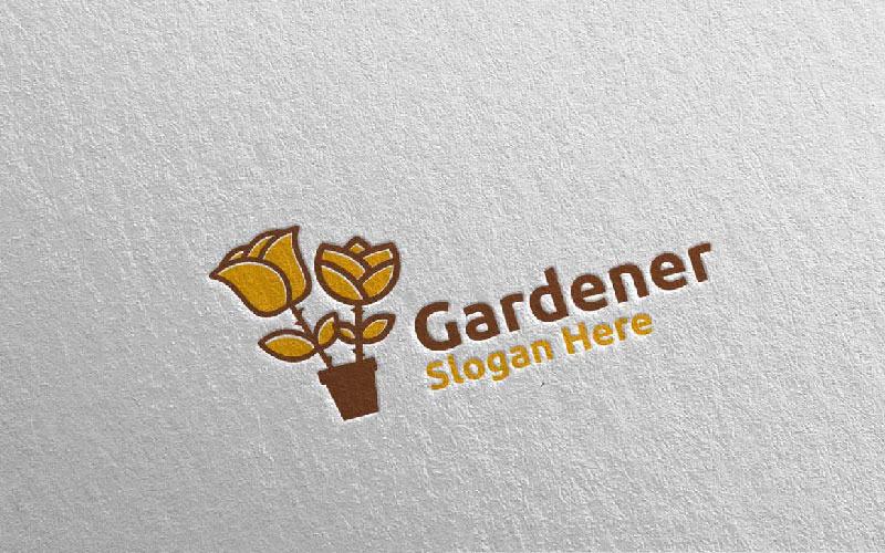 Plantilla de logotipo de Rose Botanical Gardener Design 16