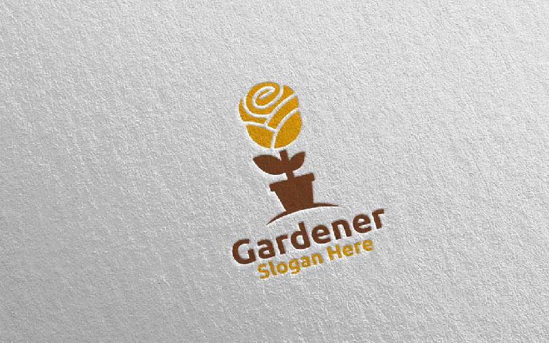 Plantilla de logotipo de Rose Botanical Gardener Design 17
