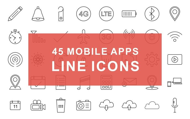 Conjunto de iconos de línea negra de aplicaciones móviles