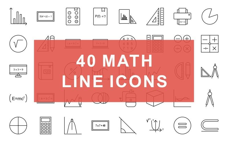Conjunto de iconos de línea negra de símbolos matemáticos