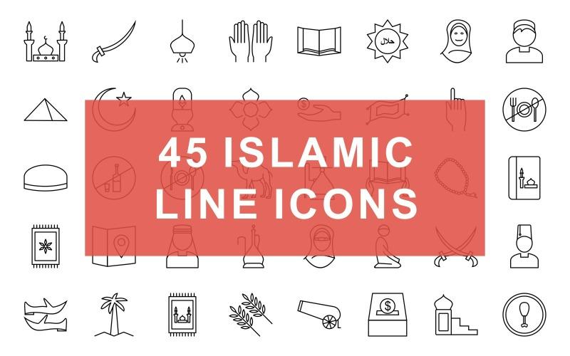 Conjunto de iconos de línea negra islámica