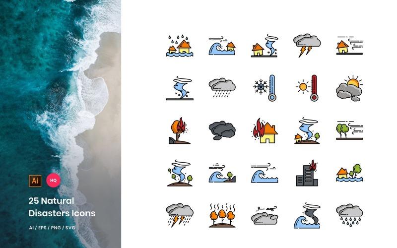 Conjunto de iconos de paquete de desastres naturales