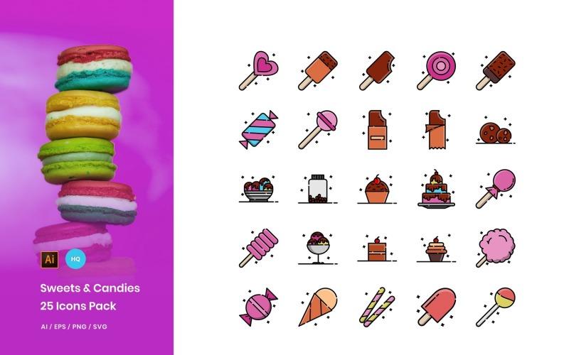 Conjunto de iconos de paquete de dulces y caramelos