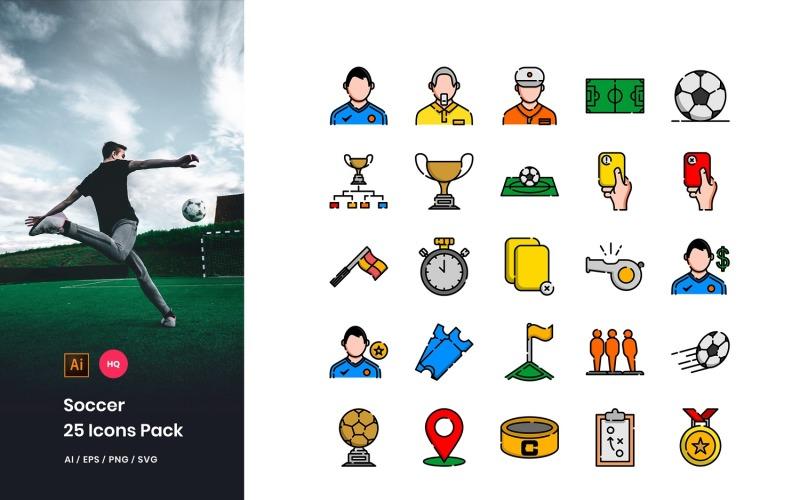 Conjunto de iconos de paquete de fútbol