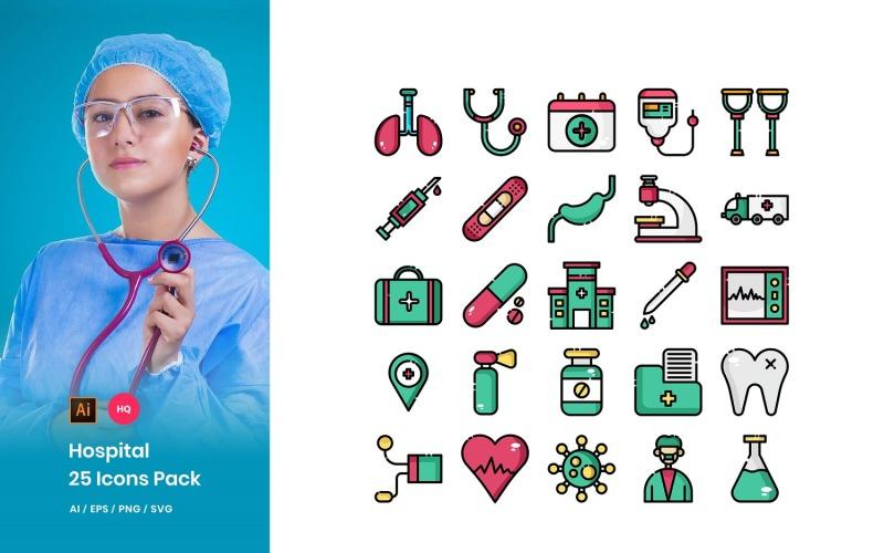 Conjunto de iconos de paquete de hospital