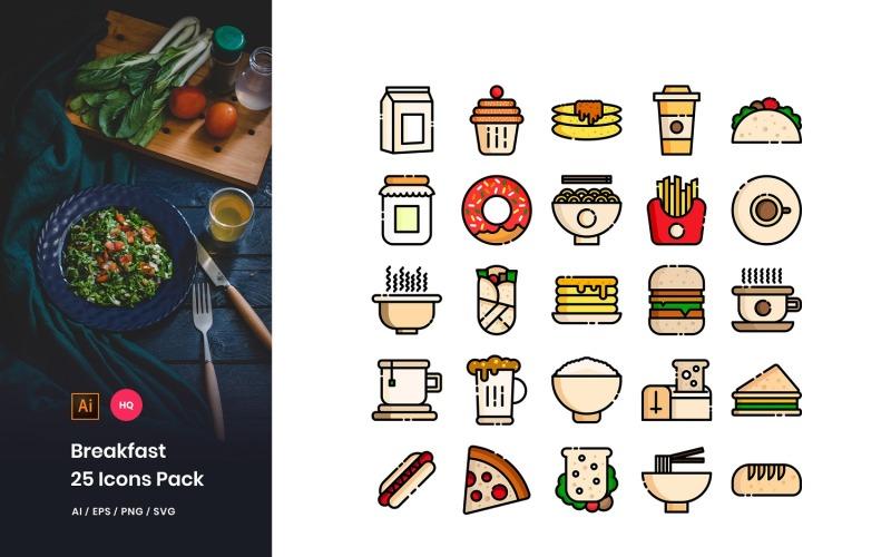 Conjunto de iconos de paquete de juguetes de desayuno