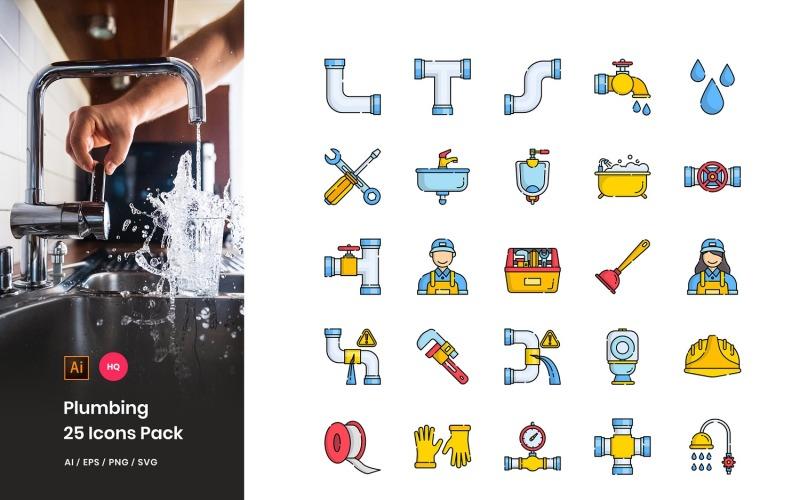 Conjunto de iconos de paquete de plomería