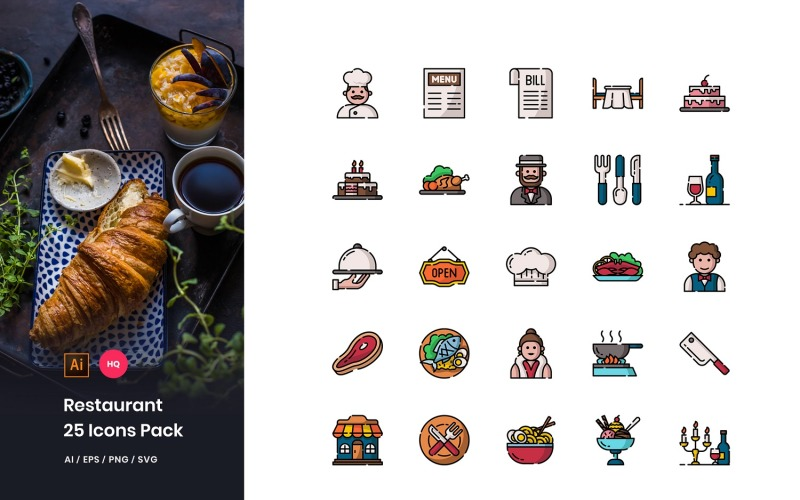 Conjunto de iconos de paquete de restaurante