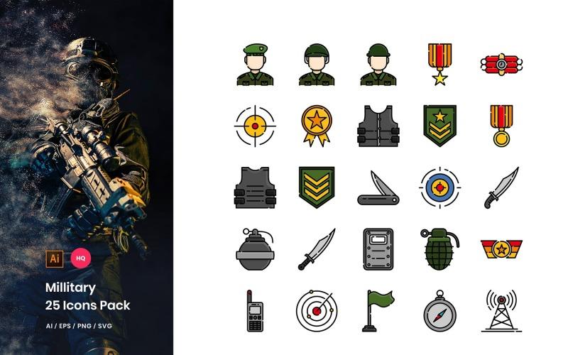 Conjunto de iconos de paquete militar